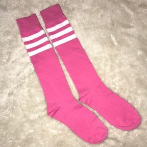 Pink & White Athletic Stipe Over the Knee Socks